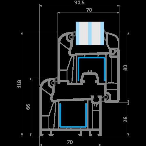 Точне креслення WDS 7S - профільної системи від EKIPAZH. Зручні та вигідні умови для співпраці з дилервами