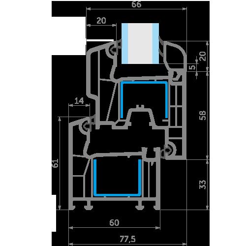 Креслення профільної системи EKIPAZH Ultra 6