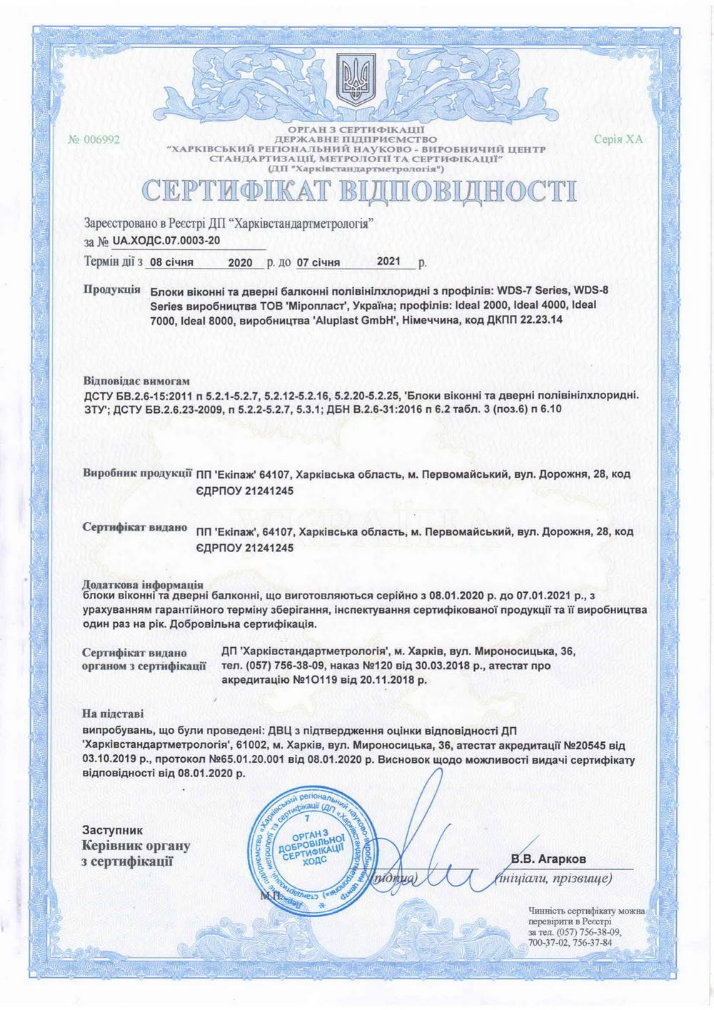 Сертифікат відповідності IDEAL 2000, IDEAL 4000, IDEAL 7000, IDEAL 8000, який допомагають дилерам EKIPAZH при роботі з клієнтами